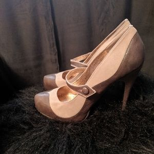 Dolce Vita Molly Gray Leather/Suede Heels